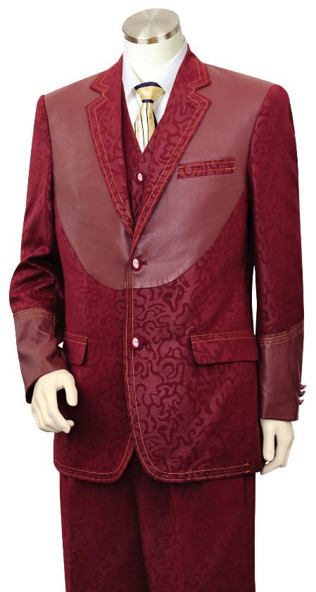 3 Piece Two Tone Blazer/Suit/Tuxedo Fancy Pattern with Leather Wine