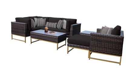Barcelona BARCELONA-08n-GLD-BLACK 8-Piece Patio Set 08n with 3 Corner Chairs  1 Club Chair  1 Armless Chair  1 Ottoman  1 End Table and 1 Coffee