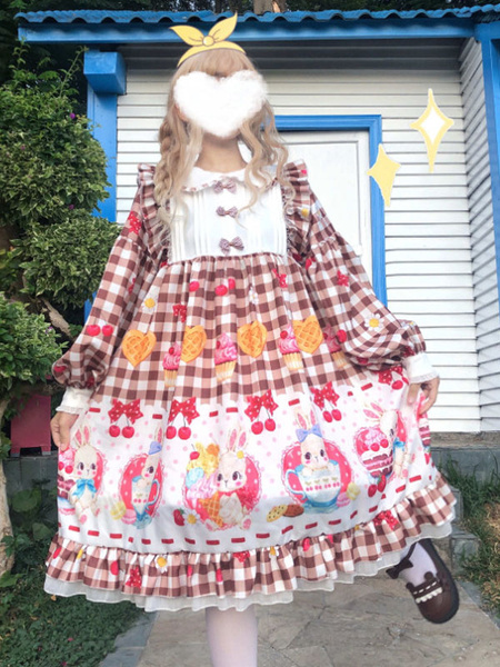 Milanoo Sweet Lolita OP Dress Cute Bunny Afternoon Tea Ruffles Lolita One Piece Dresses