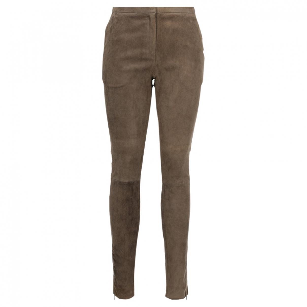 Fabiana Filippi \N Beige Leather Trousers for Women 40 IT