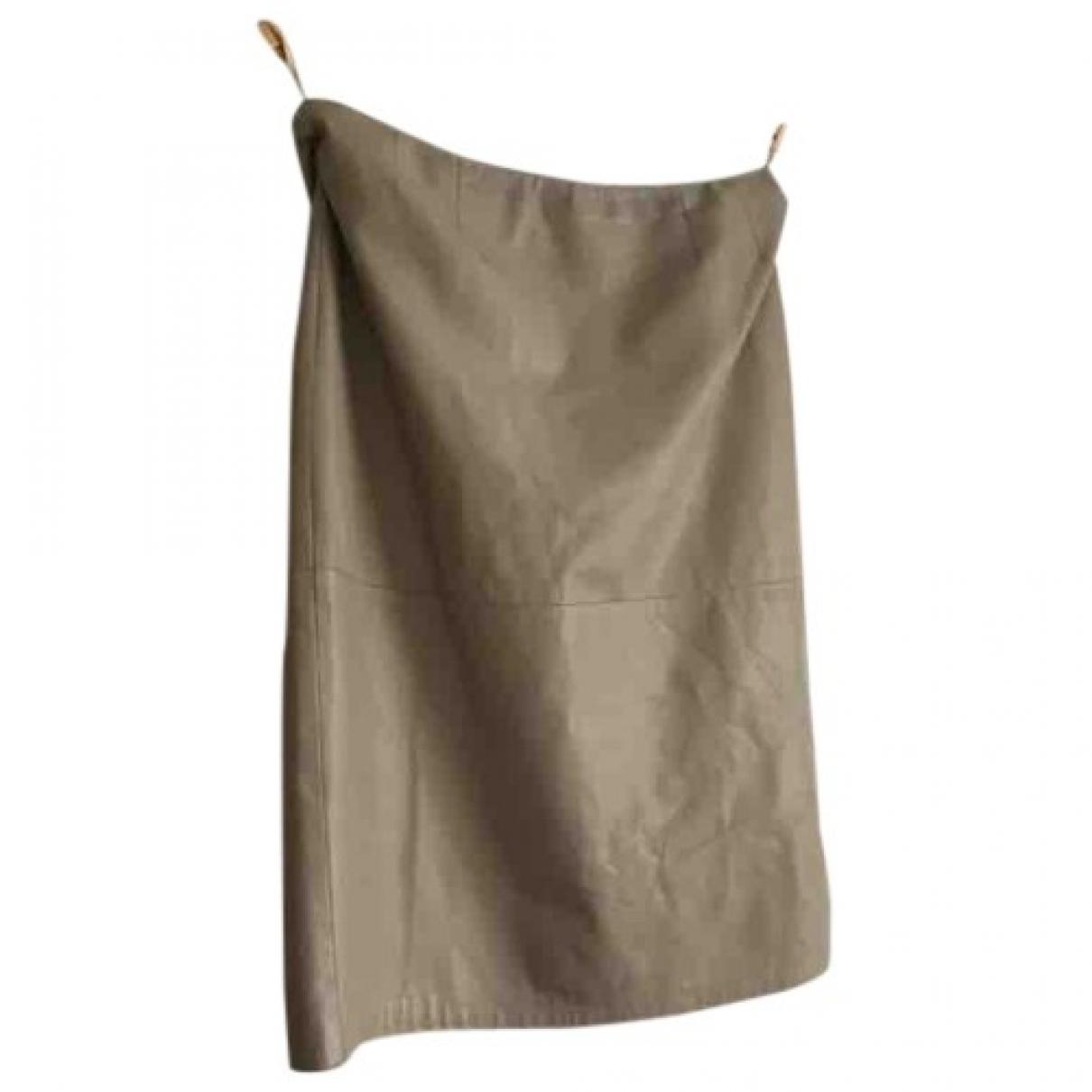 Max Mara - Jupe   pour femme en cuir - beige