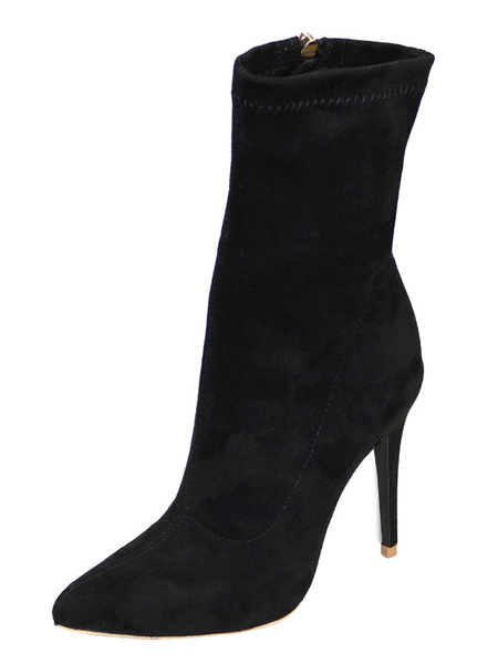 Milanoo Black Stretched Boots Women Shoes Pointed Toe High Heel Booties