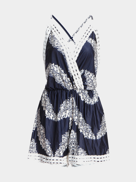 Yoins Sleeveless Wrap Front Stripe Pattern Lace-up Open Back Playsuit with Lace Details