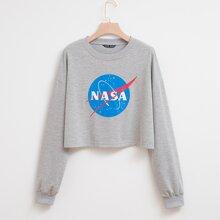 Crop Sweatshirt mit Buchstaben & Grafik Muster