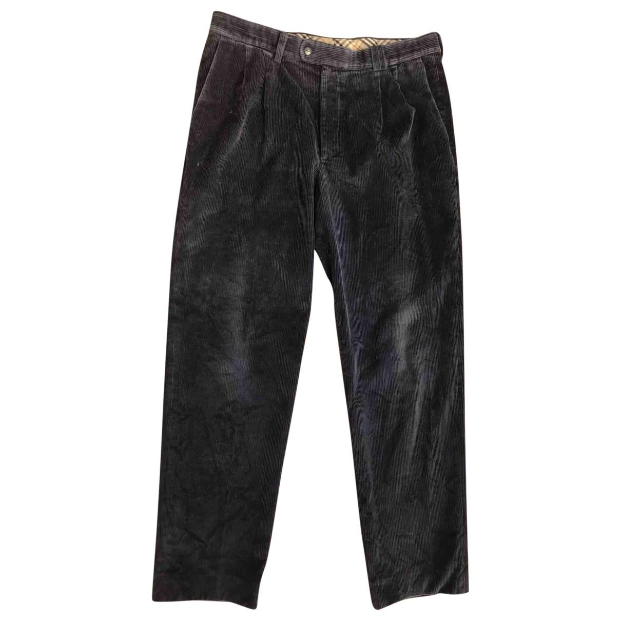Pantalones en Algodon Azul Burberry