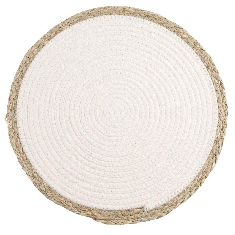 Weisses Tischset mit Rand aus Pflanzenfaser