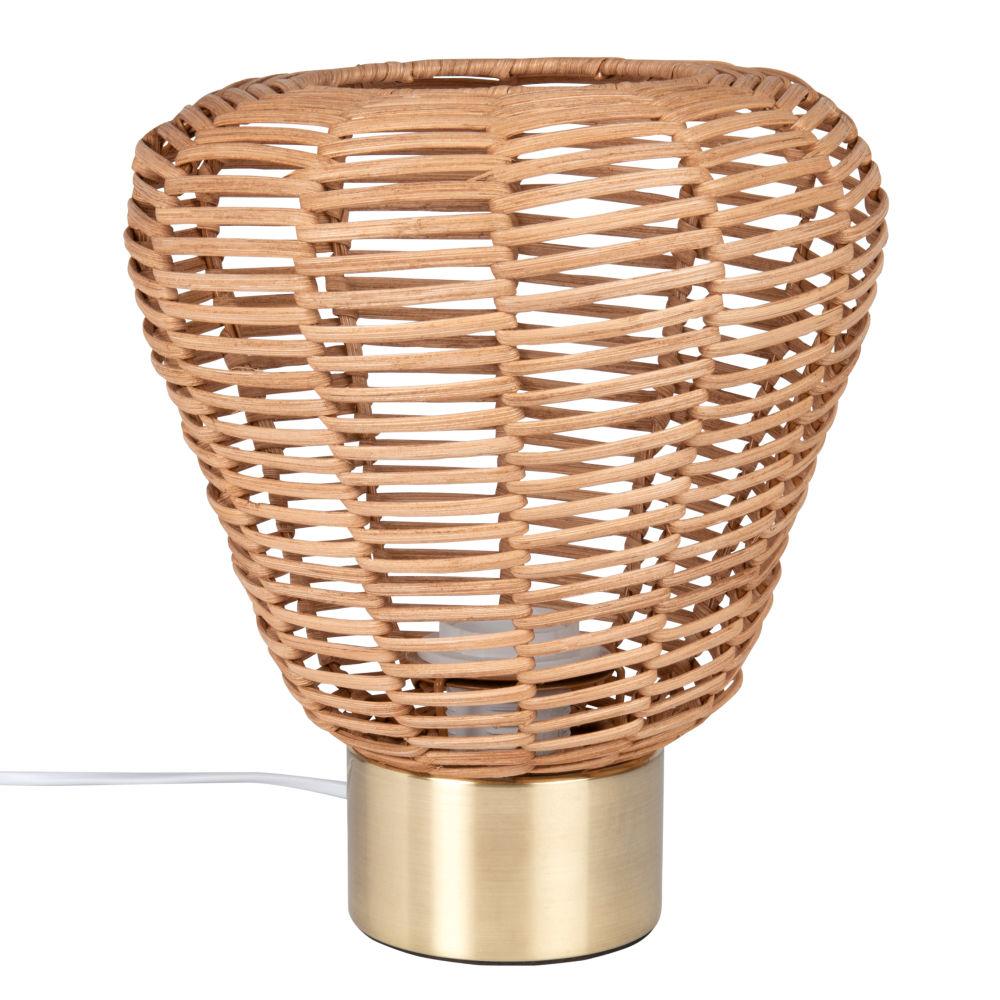 Lampe aus Rattan und goldfarbenem Metall