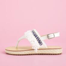 Toddler Girls Flower Decor Thong Sandals