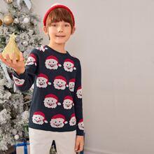 Pullover mit Weihnachtsmann Muster