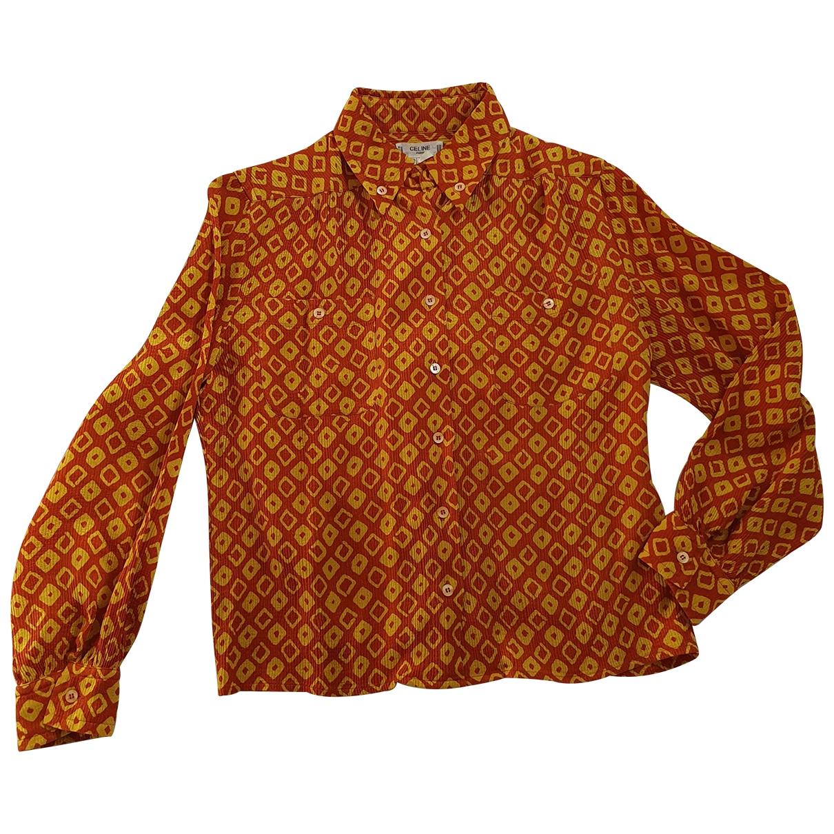 Celine - Top   pour femme en soie - orange