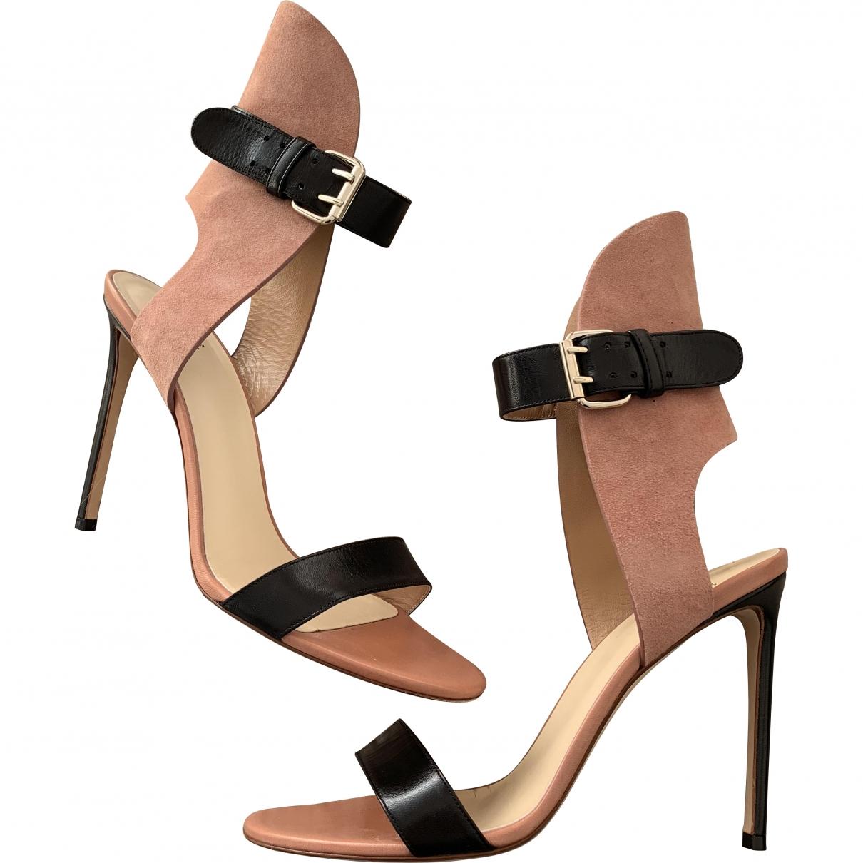 Francesco Russo \N Black Leather Sandals for Women 39.5 EU