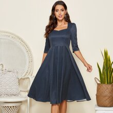 Simple Flavor Fit & Flare Kleid mit Punkten Muster