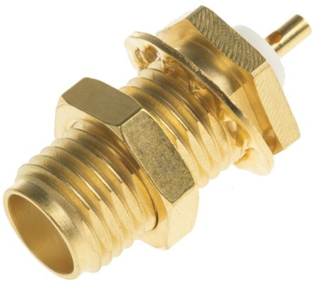 Radiall Straight 50Ω Panel MountBulkhead Fitting Coaxial Connector, jack, Passivated Stainless Steel, Solder Termination