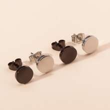 2pairs Men Round Stud Earrings