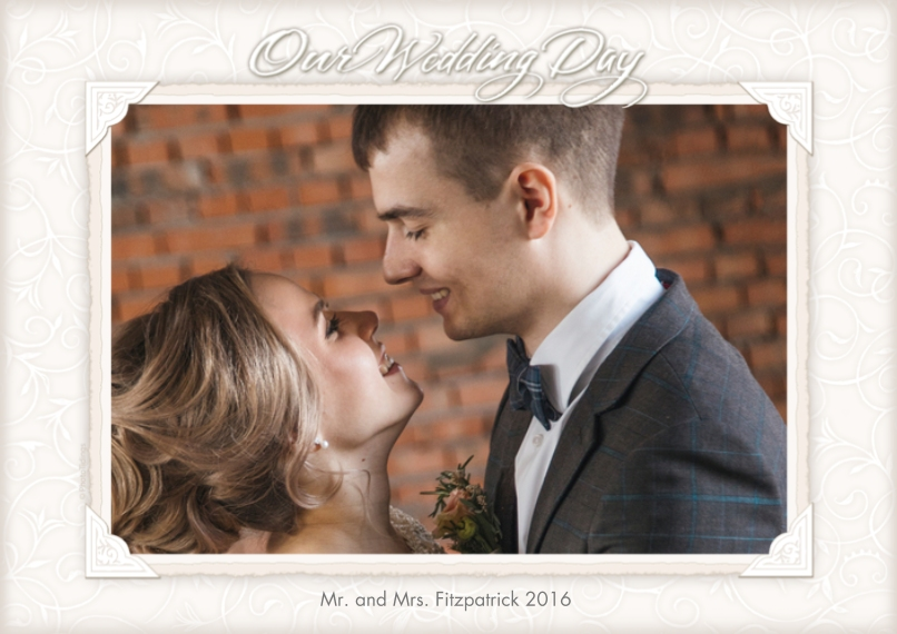 Just Married 5x7 Cards, Premium Cardstock 120lb with Rounded Corners, Card & Stationery -Our Wedding Day