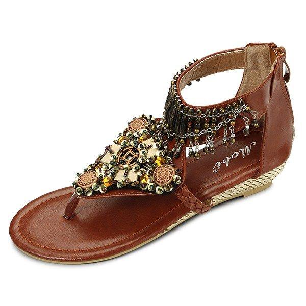 Bohemian Bead Chain Metal Pu Retro Clip Toe Zipper Flat Ankle Sandals