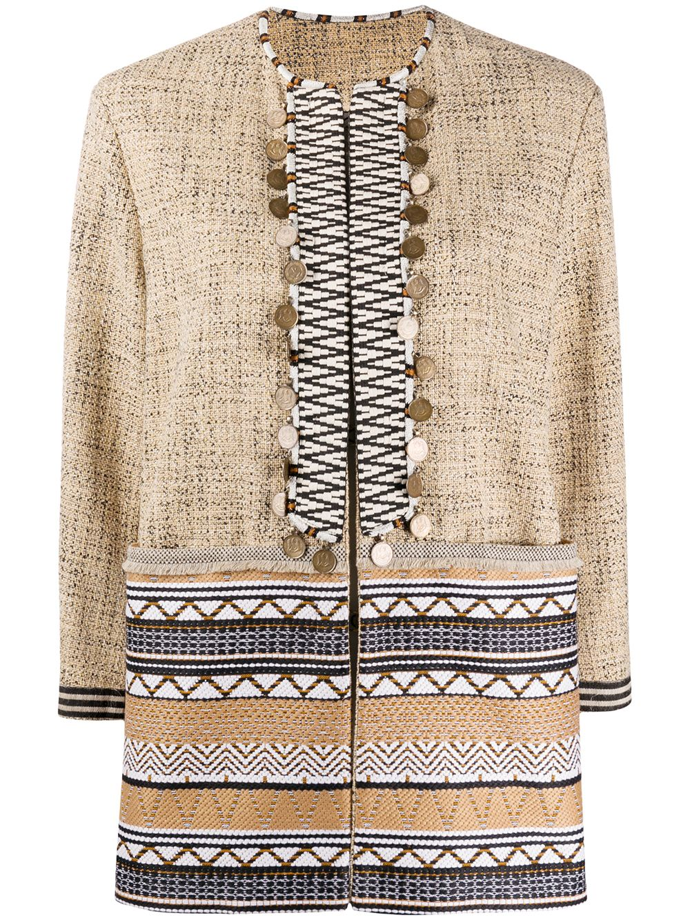 Cotton And Silk Geometric Jacquard Embellished Jacket