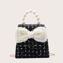 Bolsa cartera de niñas con lazo con perla artificial