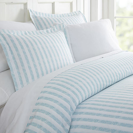 Casual Comfort Premium Ultra Soft Puffed Rugged Stripes Duvet Cover Set, One Size , Blue