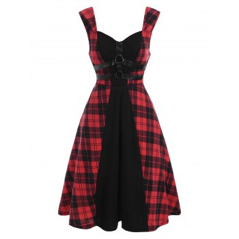 Gothic Plaid O Ring Faux Leather Straps Dress