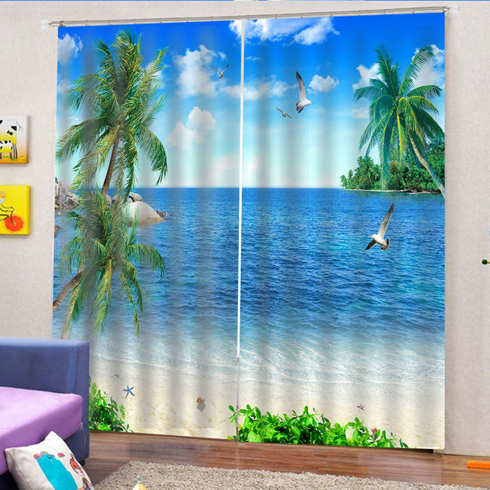 3D Beach and Sea Scenery Printed Blackout Decorative Window Curtains Custom 2 Panels Drapes No Pilling No Fading No off-lining