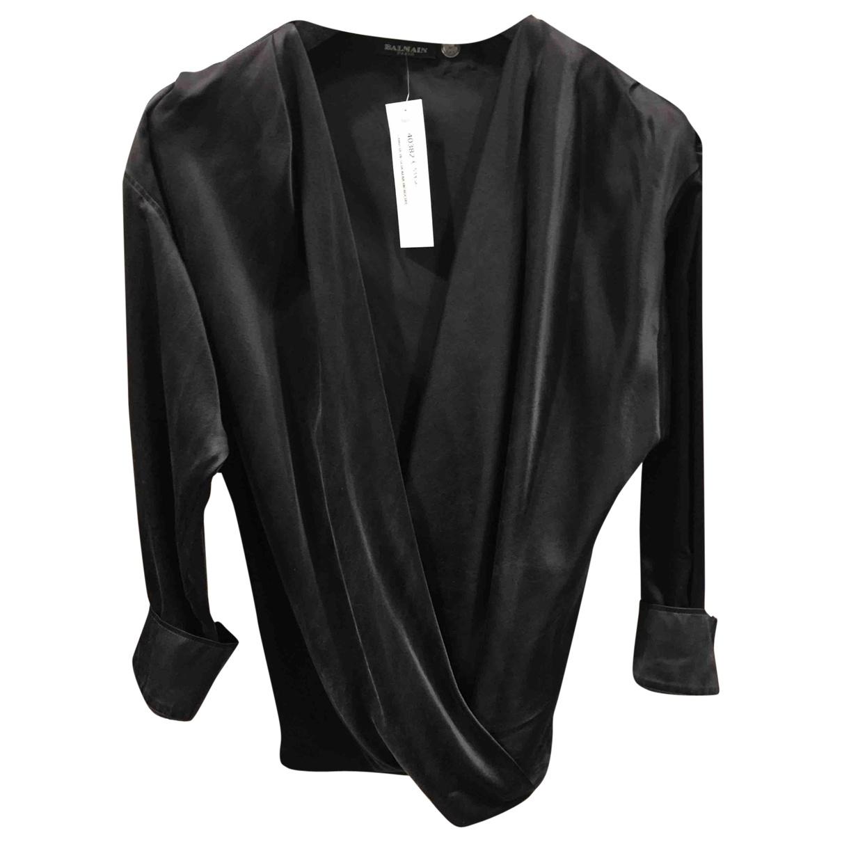 Balmain \N Black Silk  top for Women 34 FR
