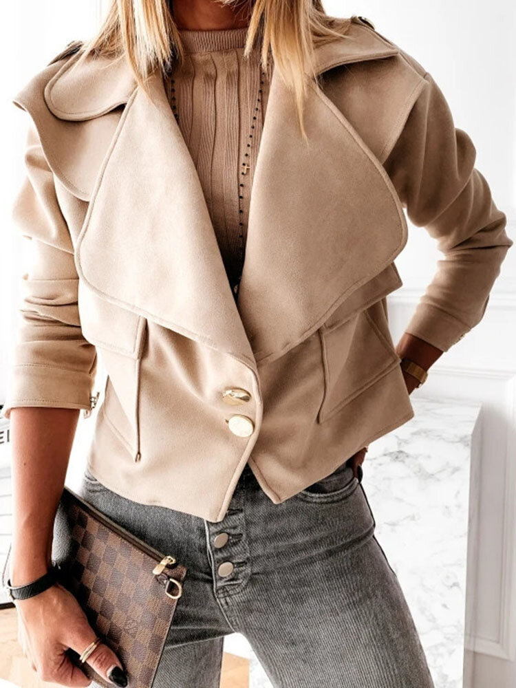 Solid Color Button Jacket With Pocket For Women