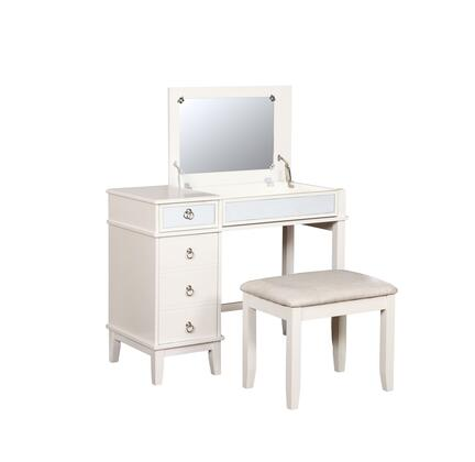 580456WHT01U Eva Collection Vanity Set with Decorative Mirrored Front  Solid Wood Frame and Polyester Upholstery in Glitz
