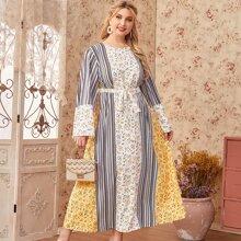 Kleid mit Glockenaermeln, Blumen & Streifen Muster und Guertel
