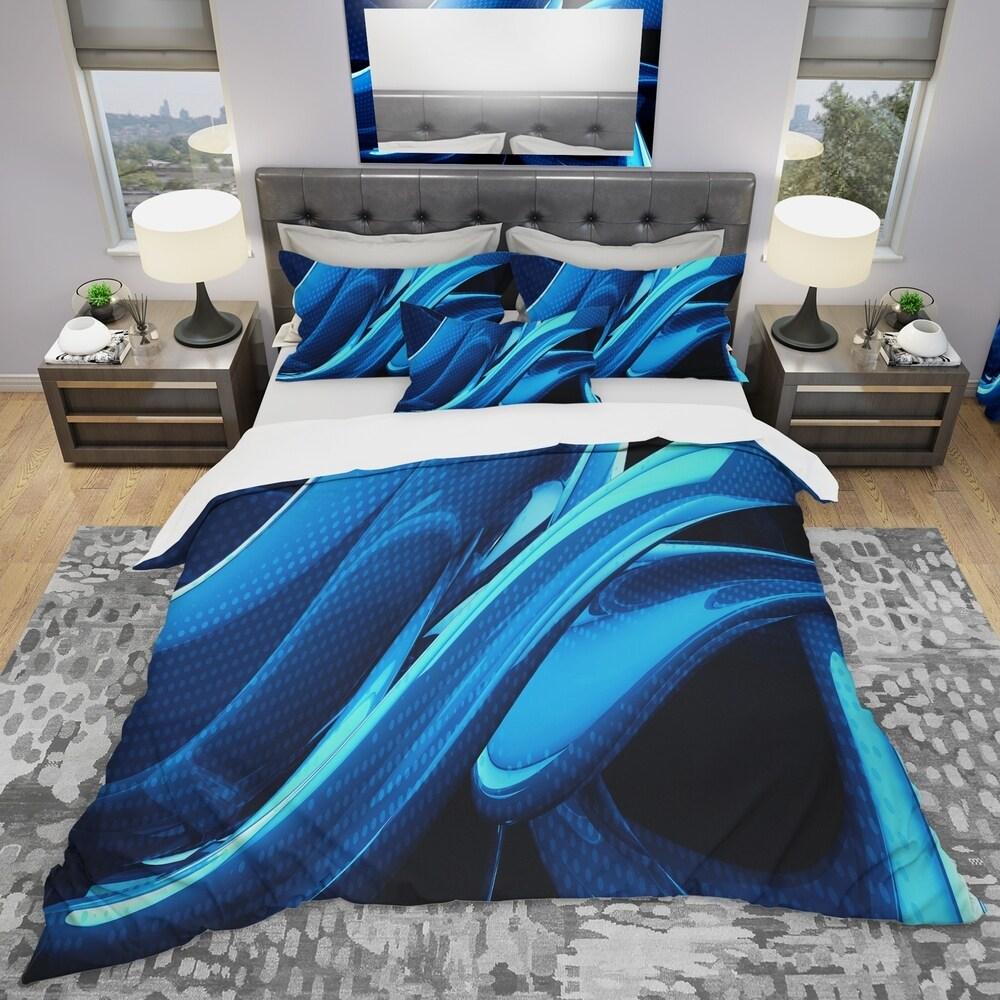 Designart 'Liquid Blue Abstract' Modern & Contemporary Bedding Set - Duvet Cover & Shams (King Cover + 2 king Shams (comforter not included))