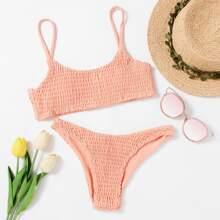 Smocked Cami Bikini Swimsuit