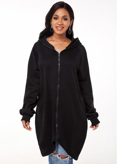 Long Sleeve Zipper Closure Hooded Collar Coat - M