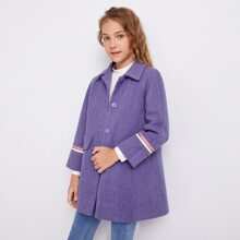 Girls Striped Sleeve Button Front Coat