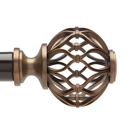 Liz Claiborne Cage Ball 1 Adjustable Curtain Rod, One Size , Brown