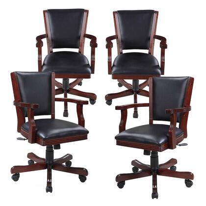 NG2366CH Kingston Walnut Poker Table Arm Chair - Set Of