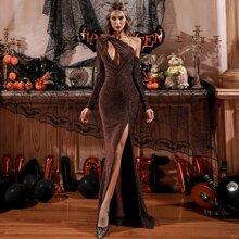 Kleid mit asymmetrischem Kragen, Ausschnitt, Schlitz und Glitzer