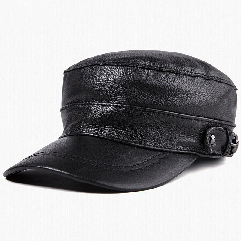 Mens Hat Leather Flat Top Military Cap Warm Earmuffs Outdoor Leather Duck Tongue Windproof Hat Male