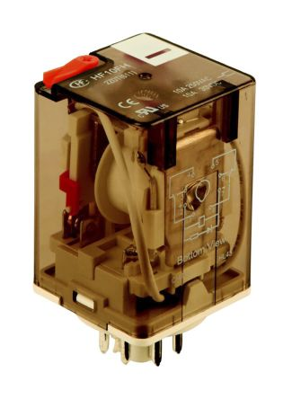 Hongfa Europe GMBH , 230V ac Coil Non-Latching Relay DPDT, 10A Switching Current Plug In, 2 Pole