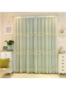 Rustic Floral Embroidery Sheer and Light Green Cloth Sewing Together Curtain Sets