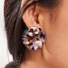 Color-block Round Stud Earrings 1pair