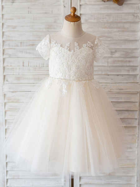 Milanoo Flower Girl Dresses Jewel Neck Lace Short Sleeves Knee-Length Princess Silhouette Buttons Formal Kids Pageant Dresses