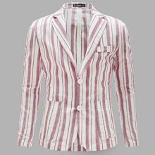 Men Notched Collar Patch Pocket Striped Blazer