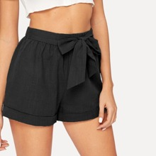 Self-Tie Belted Cuffed Shorts