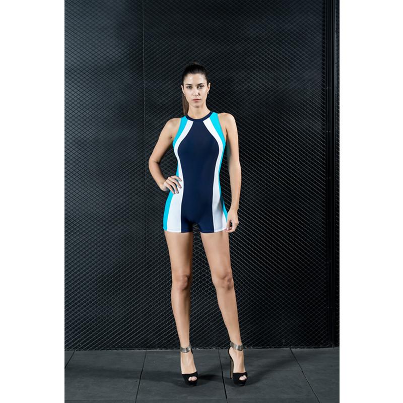 High Elastic Color Block One Piece Modest Women' s Swimwear