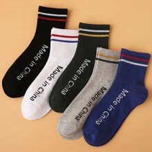 5pairs Guys Letter Graphic Socks