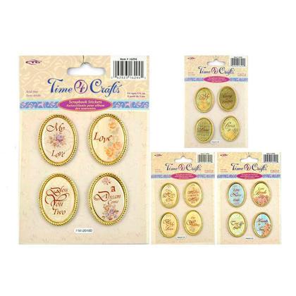 Oval Shape Scrapbook Metal Stickers, Random Style - Time 4 Crafts