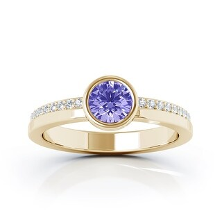 14K Gold Bezel 5MM Tanzanite & Diamond Ring (0.15 Ct, G-H, SI2-I1) by Noray Designs (9 - Yellow)
