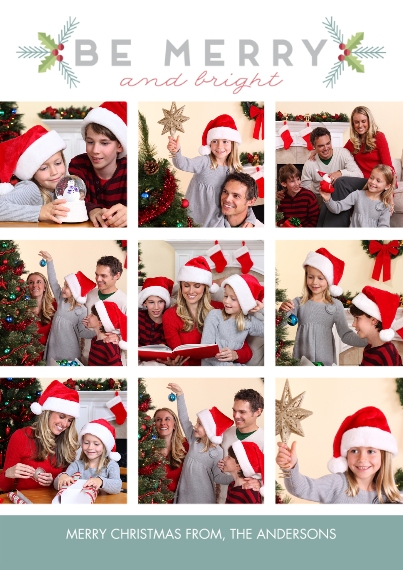 Christmas Photo Cards 5x7 Cards, Premium Cardstock 120lb with Scalloped Corners, Card & Stationery -Merry Geometric