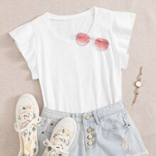 Solid Butterfly Sleeve Tee