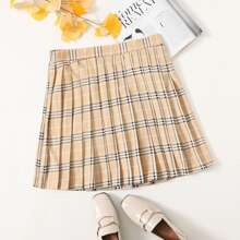 Plus Elastic Waist Plaid Pleated Skirt